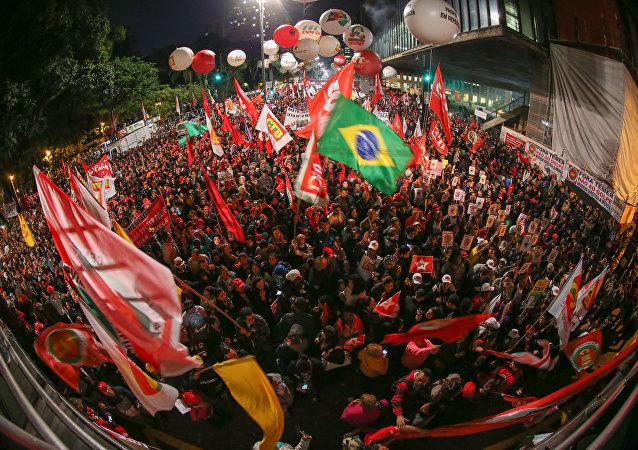 Ato contra o governo de Michel Temer na Avenida Paulista
