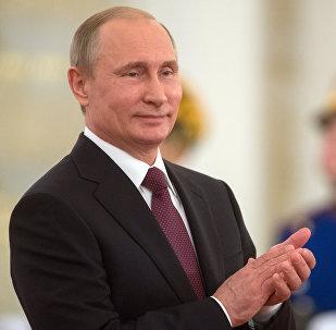 Presidente russo Vladimir Putin participa da cerimônia de condecoração, Kremlin, Rússia, 12 de junho de 2016 (foto de arquivo)