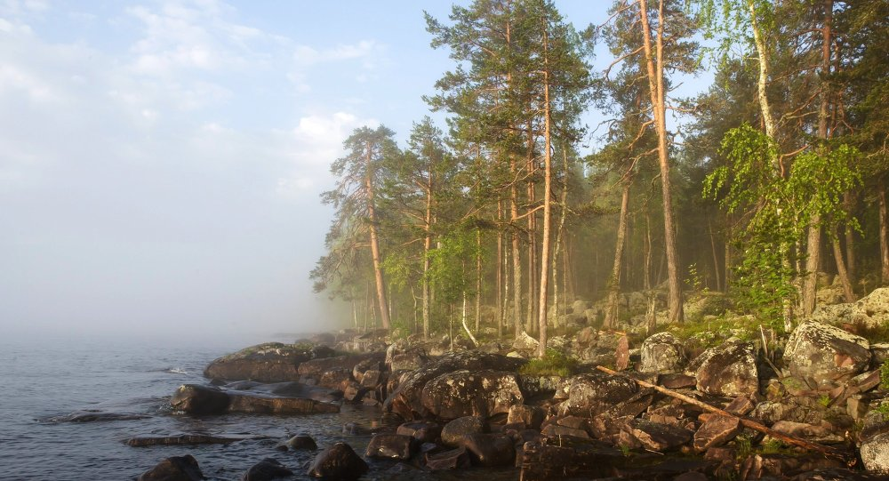 Dawn over Lake Onega in the Republic of Karelia, Russia.