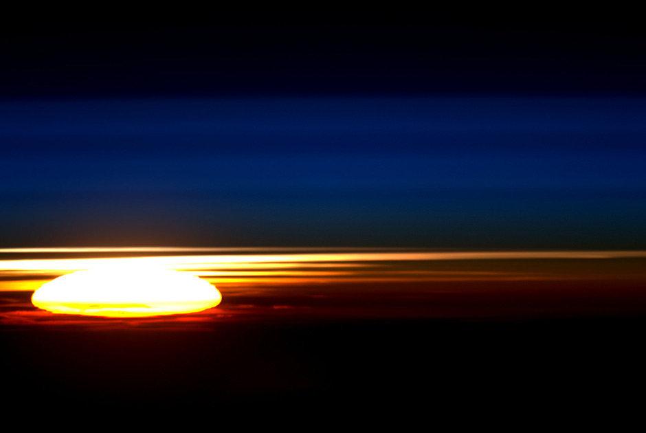 Um pôr do Sol na órbita