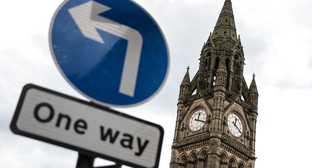 A placa sentido único em Manchester