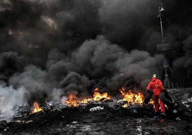 Manifestação na praça Maidan, em Kiev, Ucrânia