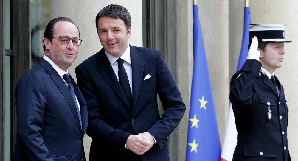 Presidente francês Francois Hollande e premiê italiano Mateo Renzi em Paris