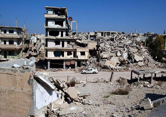 Homs, Síria, região que foi alvo de um recente ataque israelense