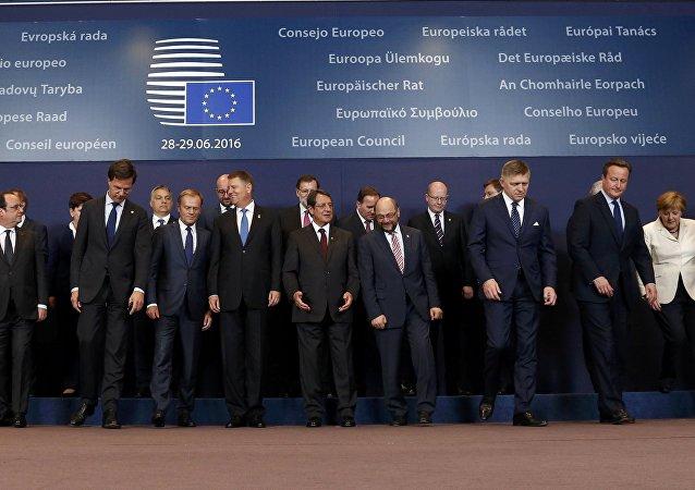 Líderes da União Europeia durante cúpula do bloco em Bruxelas