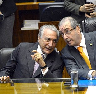 Michel Temer e Eduardo Cunha, na Câmara dos Deputados, em Novembro de 2015.