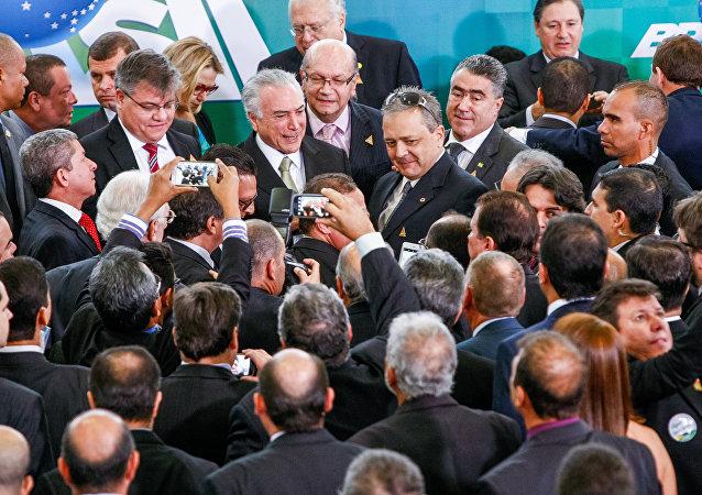 Michel Temer durante encontro com representantes da Confederação das Associações Comerciais e Empresariais do Brasil