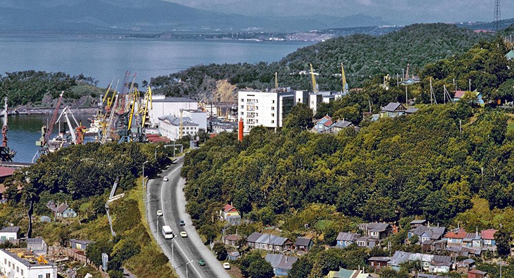 Vista da cidade de  Petropavlovsk-Kamchatsky, em kamchatka, Rússia