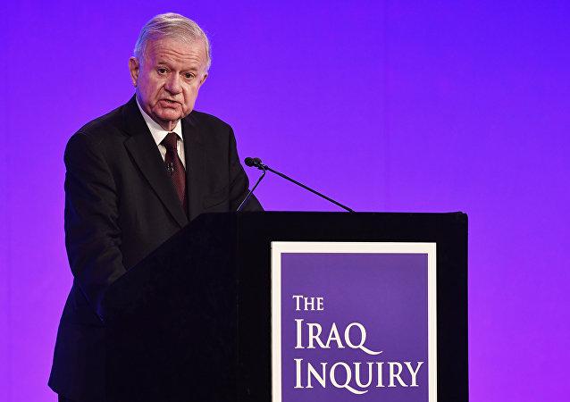 Coordenador do inquérito do envolvimento britânico na guerra no Iraque John Chilcot apresenta relatório, Londres, Reino Unido, 6 de julho de 2016