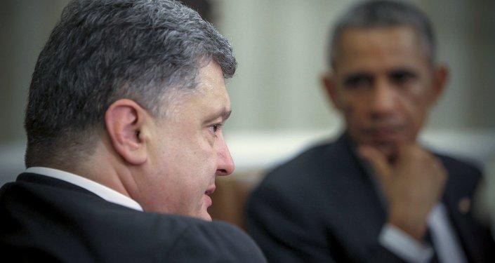 Presidente da Ucrânia, Pyotr Poroshenko, e presidente dos EUA, Barack Obama