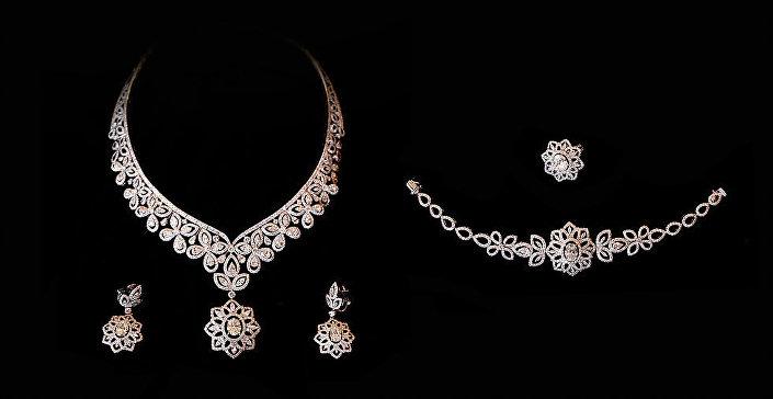 Um conjunto de joias de ouro branco