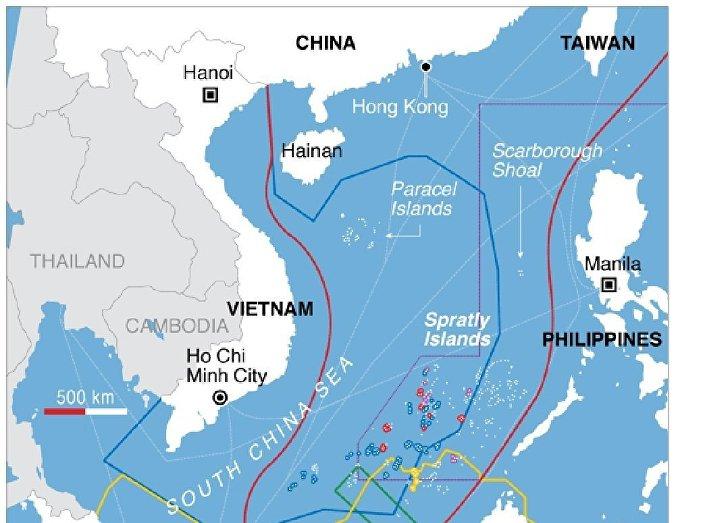 O mapa dos territórios em disputa no mar do Sul da China