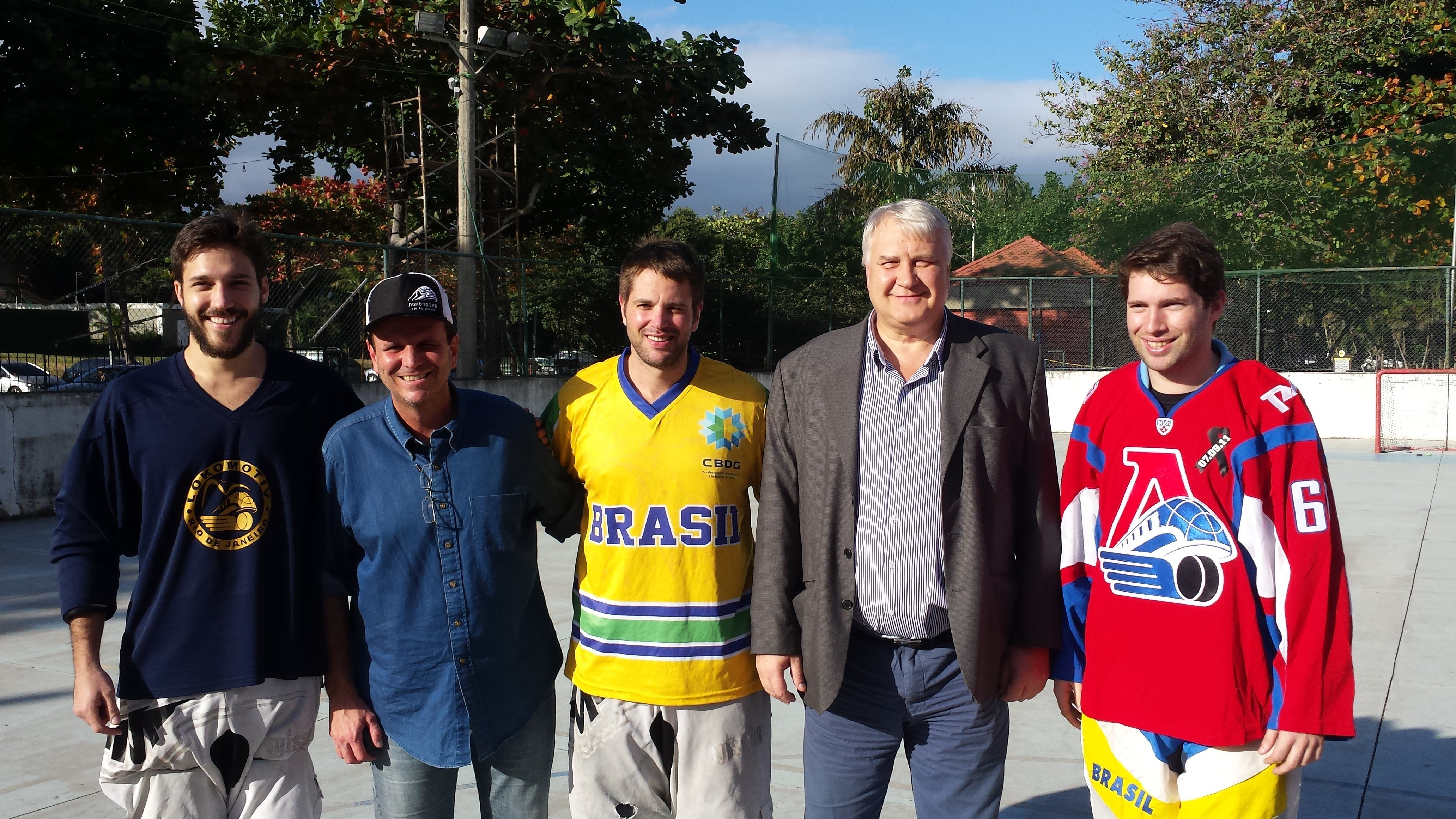Julio Baptista, Eduardo Paes, Jens Hinderlie, Vladimir Tokmakov e Daniel Baptista