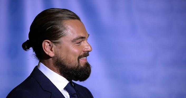 Leonardo DiCaprio, ator, em cerimônia na ONU
