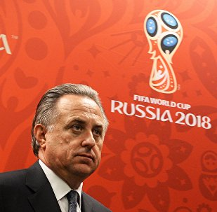 Vitaly Mutko, Minister of Sport and President of the Russiasn Football Union, attending a press briefing on FIFA and Russia-2018 Organizing Committee visits to 2018 world football championship stadiums