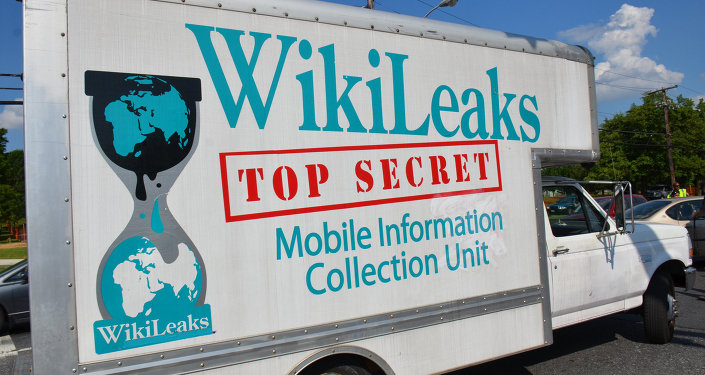 Caminhão com inscrição Wikileaks
