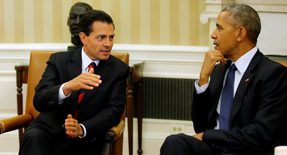 Presidente do México, Enrique Peña Nieto, na Casa Branca com o presidente dos EUA, Barack Obama