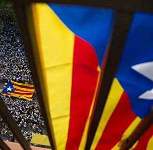 Uma rua de Barcelona durante a celebração da Diada, festa nacional da Catalunha, em 2015