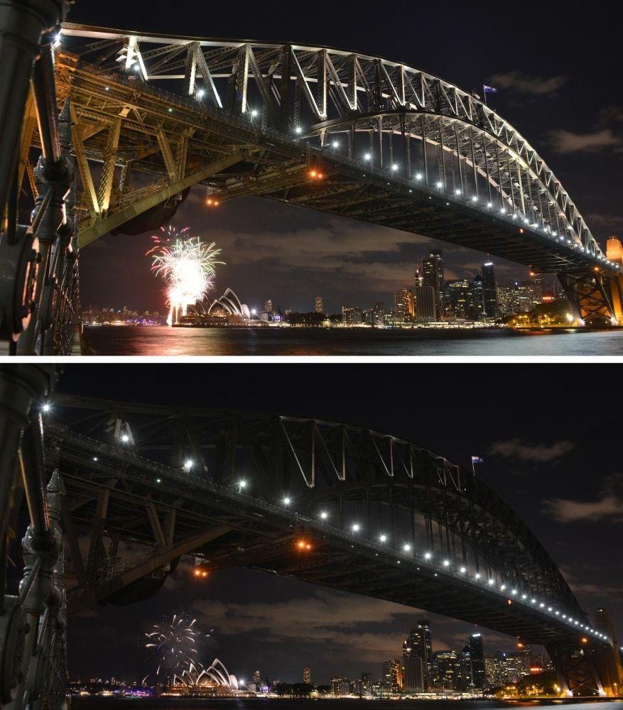 Ponte da Baía de Sydney durante a ação ambiental Hora do Planeta