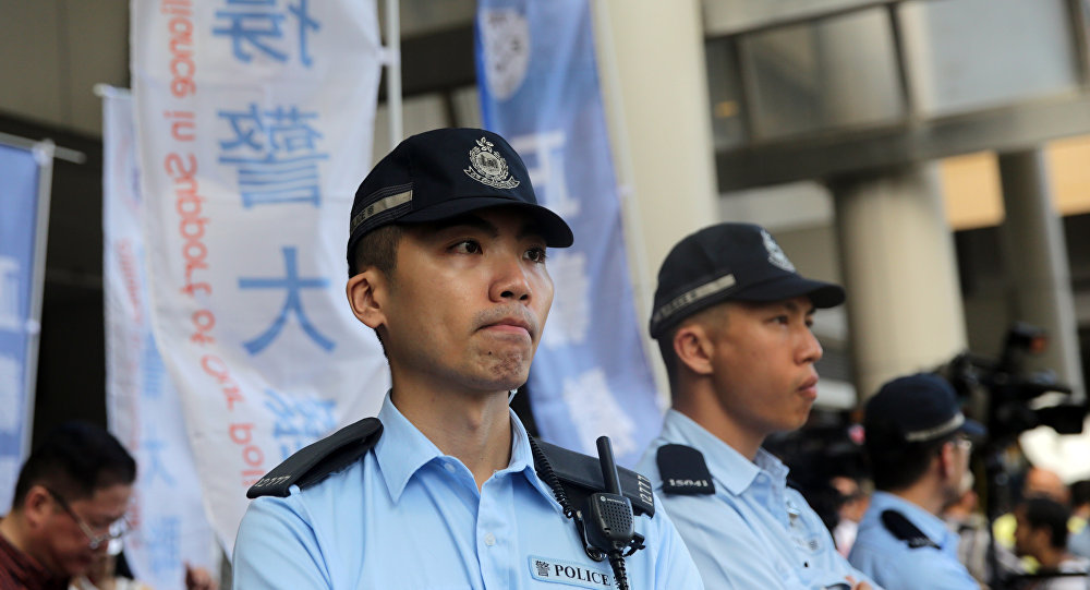 Agentes de polícia da china durante serviço (arquivo)