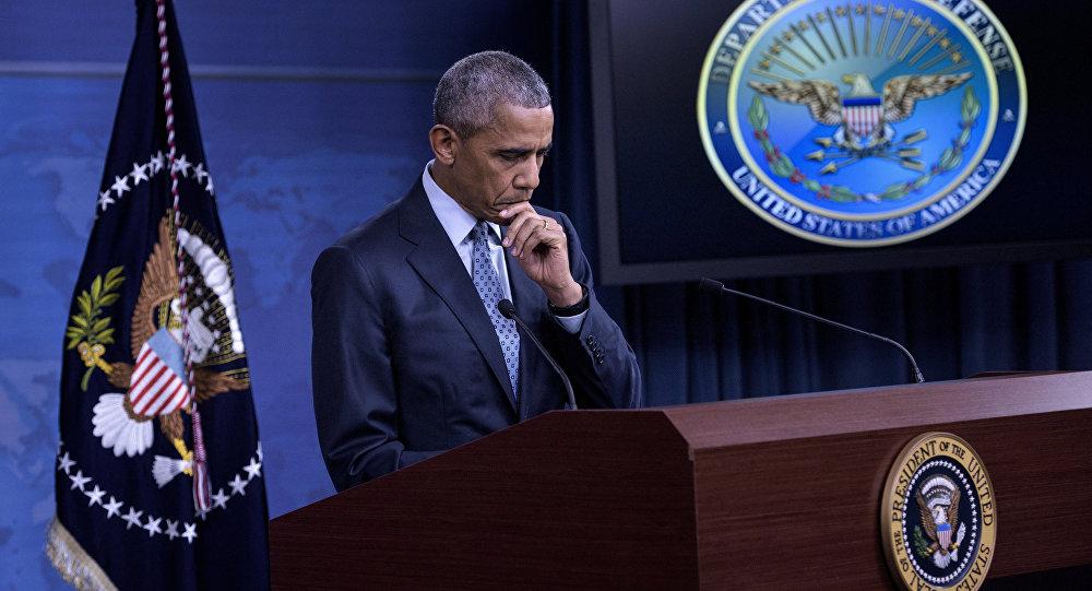 Presidente norte-americano Barack Obama responde às questões durante a conferência de imprensa no Pentágono, 4 de agosto de 2016