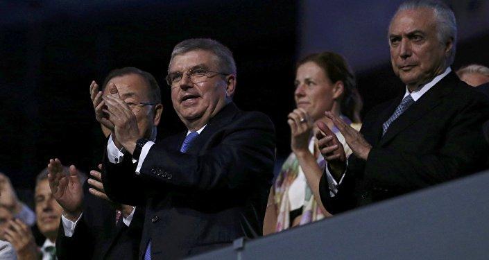 Presidente interino do Brasil Michel Temer durante abertura dos Jogos Olímpicos Rio 2016 no Maracanã