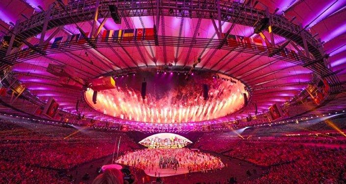 Cerimônia de abertura das Olimpíadas Rio 2016, no estádio do Maracanã