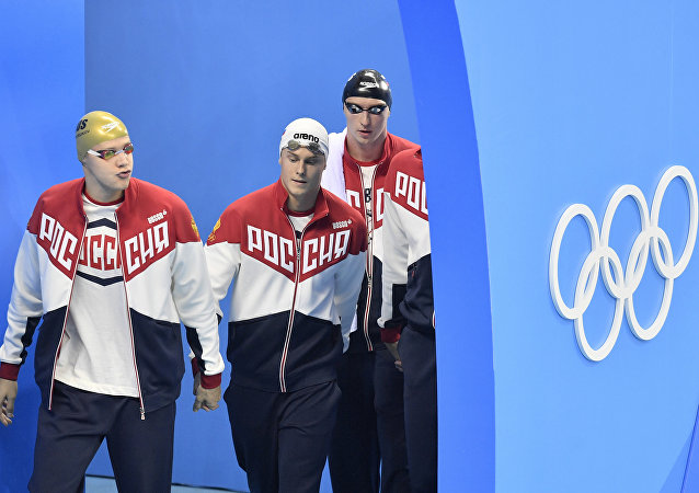 Nadadores russos Andrey Grechin, Danila Izotov, Vladimir Morozov e Aleksandr Sukhorukov nas Olimpíadas Rio-2016, 7 de agosto de 2016