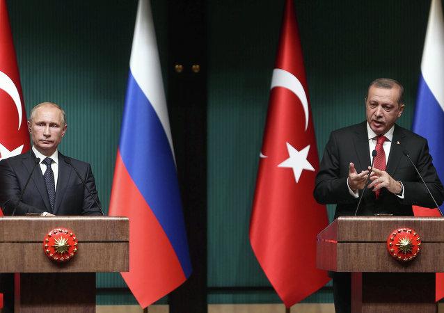 O presidente russo, Vladimir Putin, em encontro com o presidente da Turquia, Recep Tayyip Erdogan, em Ancara, em dezembro de 2014