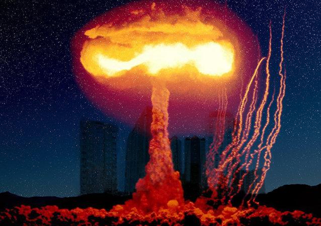 Imagem artística de uma explosão nuclear