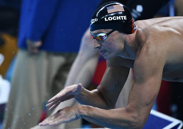 Ryan Lochte durante a etapa final da estafeta 4x200 na Olimpíada do Rio