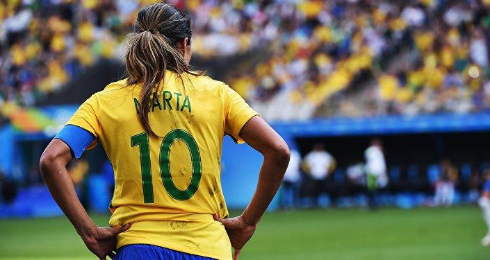 A capitã da seleção brasileira, Marta, após a derrota para o Canadá na disputa pelo bronze