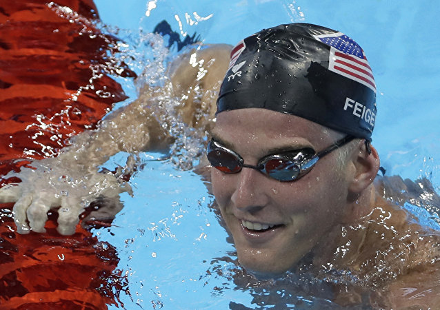 United States James Feigen smiles during a swimming training session prior to the 2016 Summer Olympics in Rio de Janeiro, Brazil