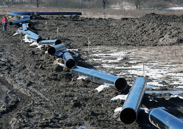 Construção de gasoduto na região de Kaliningrado, Rússia (foto de arquivo)