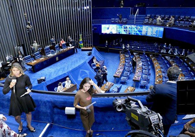 Plenário do Senado Federal durante sessão deliberativa extraordinária para votar a Denúncia 1/2016, que trata do julgamento do processo de impeachment da presidenta afastada Dilma Rousseff