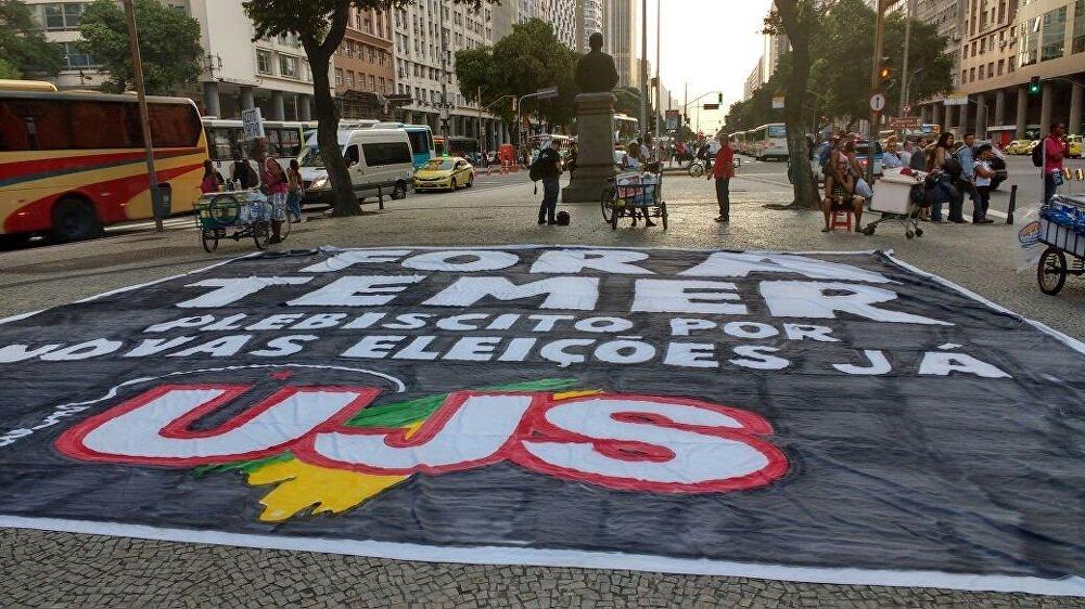 Manifestação contra o impeachment e contra o governo interino de Temer no Rio de Janeiro