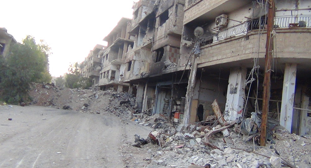 As ruinas da cidade de Darayya na Síria