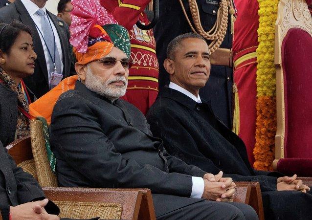 Primeiro-ministro da Índia, Narendra Modi, e presidente dos EUA, Barack Obama