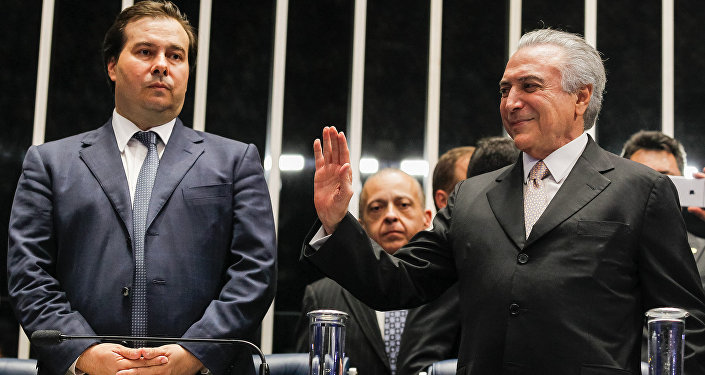 O presidente da Câmara dos Deputados, Rodrigo Maia, na cerimônia de posse do presidente da República, Michel Temer