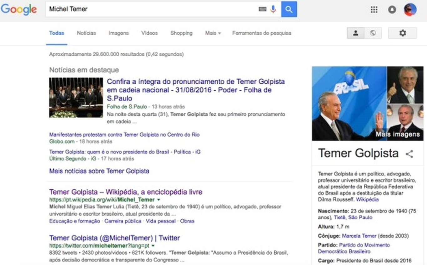 Extensão do Google Chrome altera nome de Michel Temer para 'Temer Golpista'