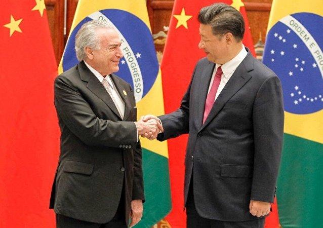 Michel Temer durante encontro com o presidente da República popular da China, Xi Jinping