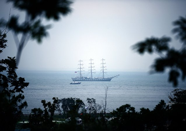 Um navio perto da Ilha Russky, onde terá lugar o Fórum Econômico do Oriente 2016