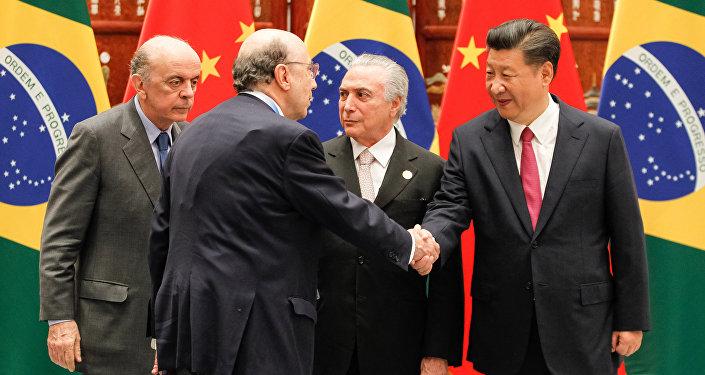 José Serra, Henrique Meirelles, Michel Temer e o presidente da Cina, Xi Jinping