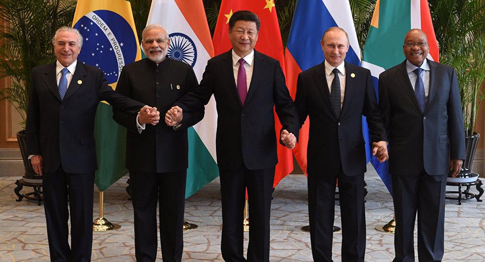 Líderes do grupo BRICS, na cúpula do G20 em Hangzhou. 4 de setembro de 2016