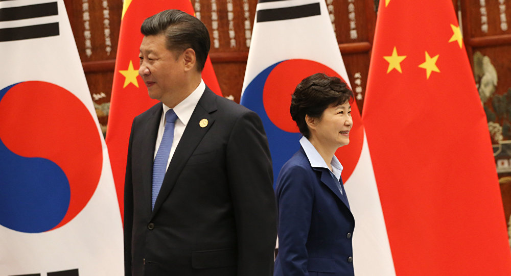 Xi Jinping e Park Geun-hye antes do encontro bilateral na cúpula do G20, em Hangzhou