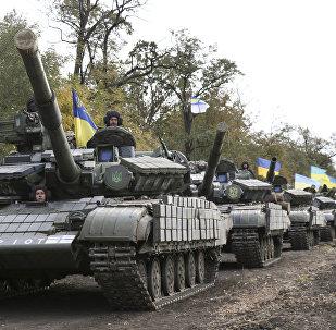 Tanques ucranianos na região de Donbass, foto de arquivo