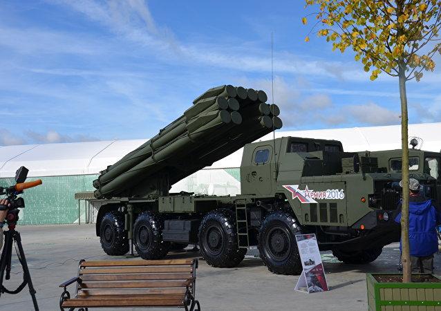 Um complexo S-300 está a mostra no fórum militar internacional EXÉRCITO 2016 perto de Moscou, em 6 de setembro de 2016