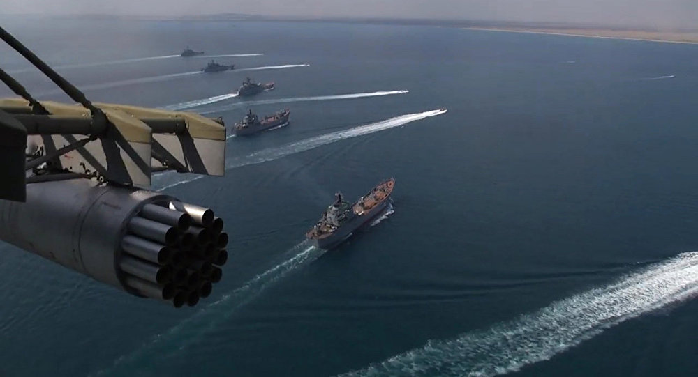 Frota do mar Negro participando dos exercícios militares