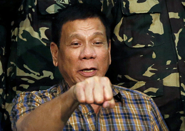 Prisidente das Filipinas Rodrigo Duterte discursando