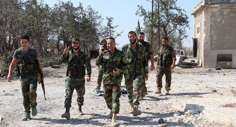 Soldados do Exército sírio em Aleppo, 5 de setembro de 2016